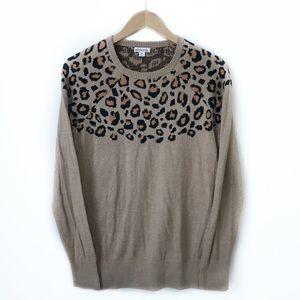 Merona Cheetah Print Brown Long Sleeve Sweater